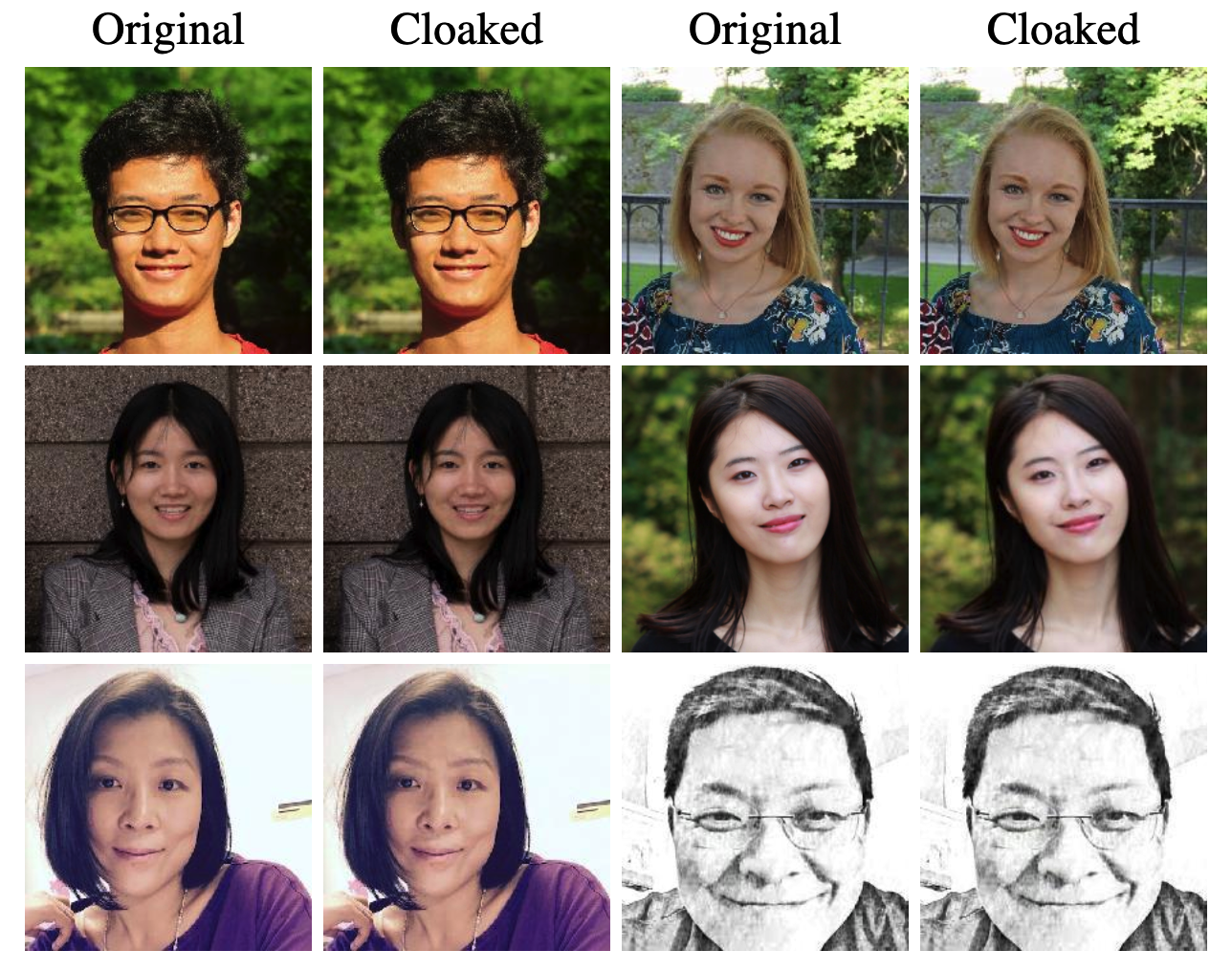 6 people's images have been altered with Fawkes but the changes aren't recognizable