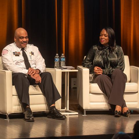 Panel discussion with Joyce Foundation president Ellen Alberding, CPD Supt. Eddie Johnson and CPS CEO Janice Jackson.
