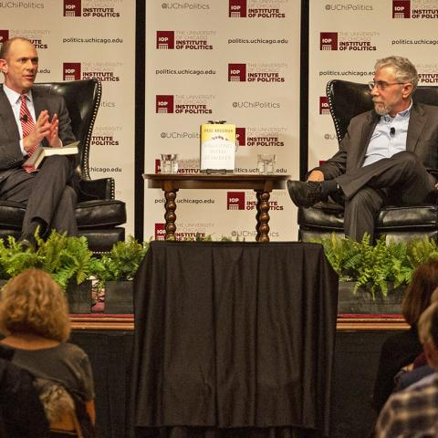 Paul Krugman, right, speaks with Prof. Austan D. Goolsbee in an event at the International House