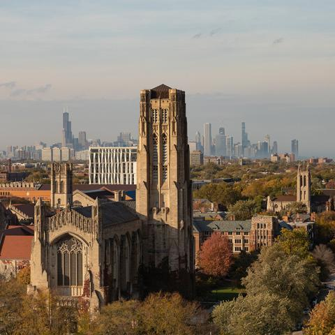 University of Chicago campus with the Chicago skyline in the background