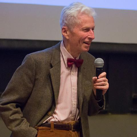 Roger Hildebrand in bow tie with microphone