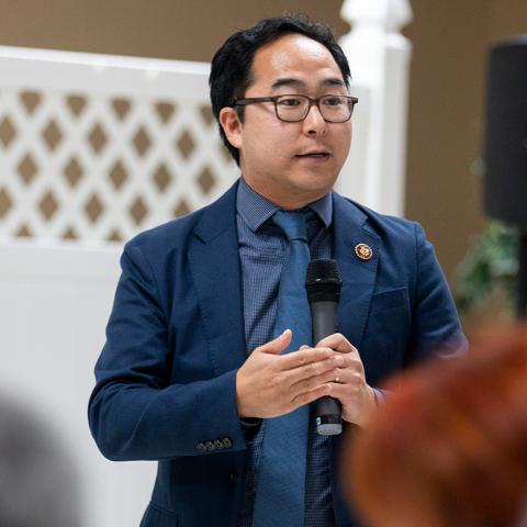 Rep. Andy Kim speaking to a group of people