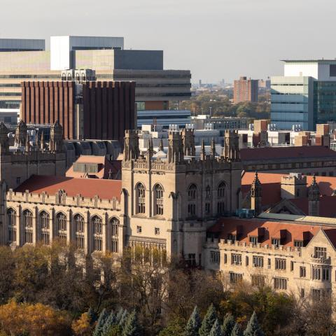 Harper Library and other parts of the UChicago campus, seen from the Rubenstein Forum