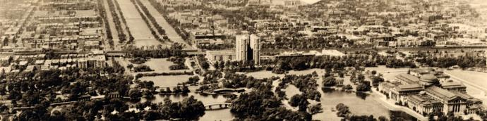 Aerial view of early Hyde Park-Kenwood overlooking Jackson Park