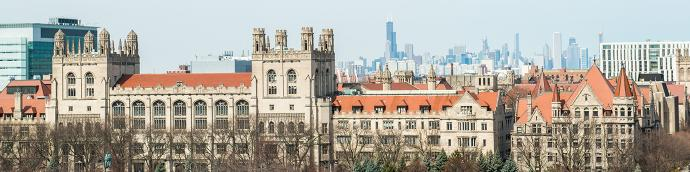 University of Chicago campus with downtown Chicago in the background