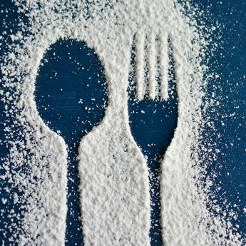 Cutlery imprint in sugar