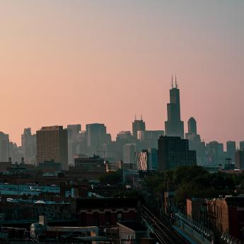 Chicago skyline dawn