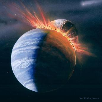 Object hitting Earth illustration