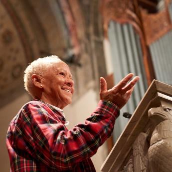Poet Nikki Giovanni speaks during a 2016 appearance at Rockefeller Chapel