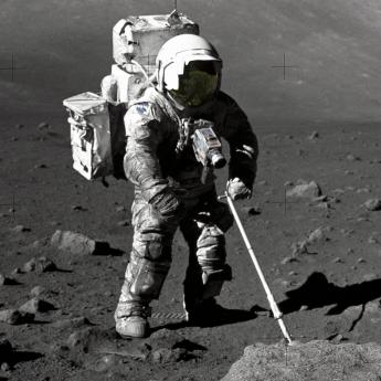 Apollo 17 astronaut Harrison Schmitt collects samples of lunar soil from the moon in 1972.
