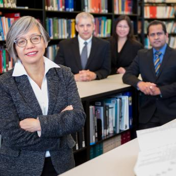 Prof. Linda Young with Argonne colleagues Anthony DiChiara, Maria Chan and Anirudha Sumant