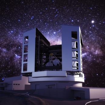 Giant Magellan Telescope rendering at night