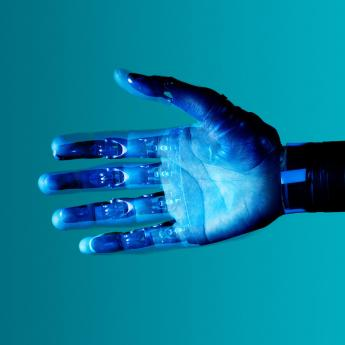 Visualization of a prosthetic hand, illustrated with blue light
