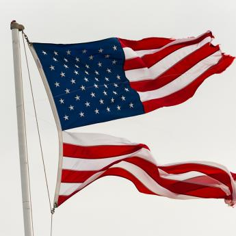 American flag ripped in half