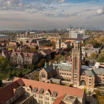 View of University of Chicago campus with downtown skyline