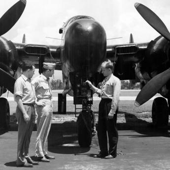 Horace R. Byers pictured with Ferguson Hall and Lewis Meng at Pinecastle Army Airfield