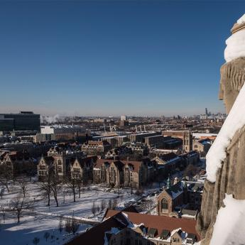 View from Rockefeller Chapel Tower with snow