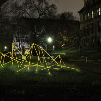 A rendering of 'Light Fantastic,' a campus-wide public art installation that is part of WinterFest