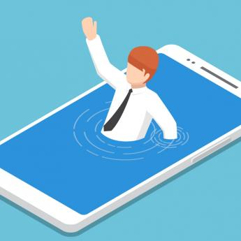 Cartoon figure drowning in smart phone
