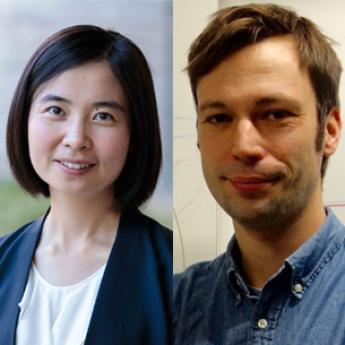 Assoc. Prof. Wenxin Du (left) and Asst. Prof. Hannes Bernien (right)