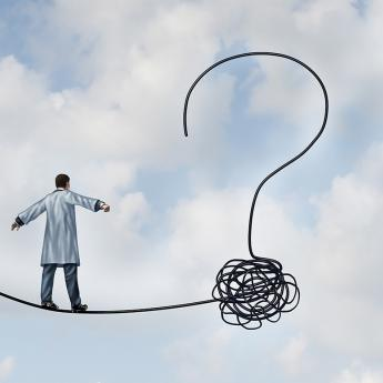 Illustration of doctor balancing on tight rope