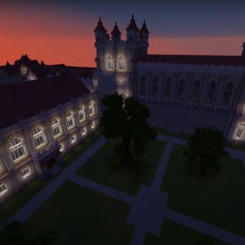 A screenshot of the UChicago's Harper Quadrangle at night, recreated on Minecraft