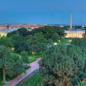 Aerial view of the White House and Washington Monument