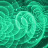 Illustration of merging black holes and the ripples of gravity created around them